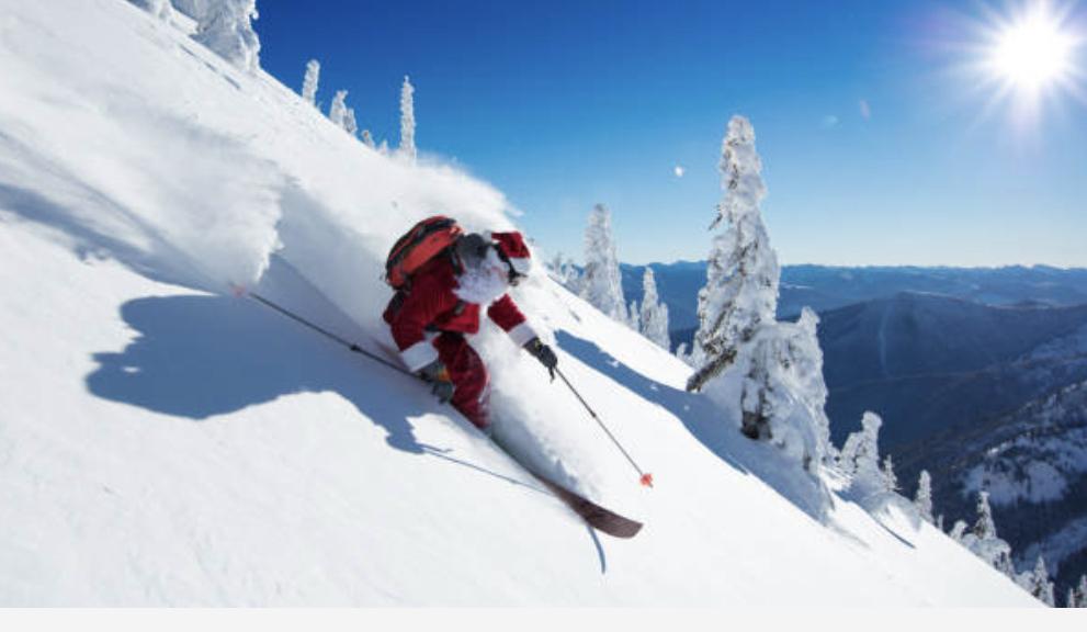 Santa Skiing Christmas Storm